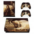 Tristan and Isolde painting xbox one X skin decal for console and 2 controllers