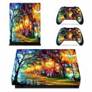 Acrylic painting  xbox one X skin decal for console and 2 controllers