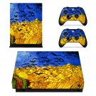 Wheatfield with Crows Painting xbox one X skin decal for console and 2 controllers