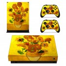 Vincent van gogh sunflowers xbox one X skin decal for console and 2 controllers
