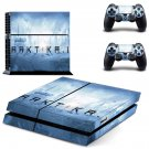 Arktika.1 decal for PS4 PlayStation 4 console and 2 controllers