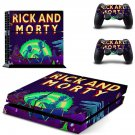 Rick and Morty decal for PS4 PlayStation 4 console and 2 controllers