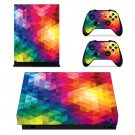 Colorful abstract Xbox one X skin decal for console and controllers