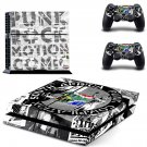 Punk Rock Motion Comics decal for PS4 PlayStation 4 console and 2 controllers