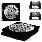 Novus Ordo Seclorum decal for PS4 PlayStation 4 console and 2 controllers