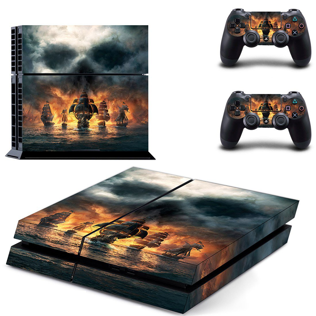 Skull & Bones decal for PS4 PlayStation 4 console and 2 controllers