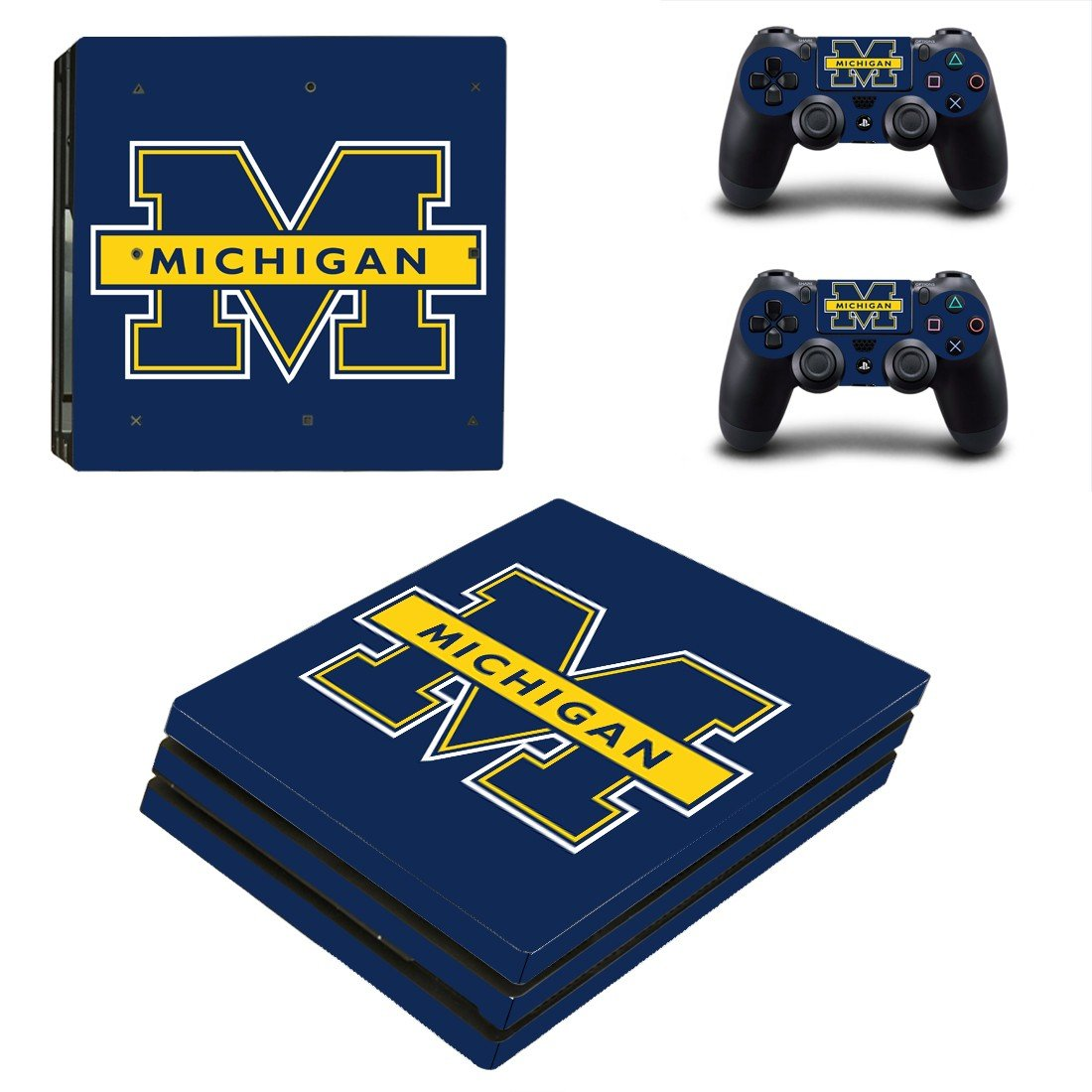 Michigan wolverines ps4 pro skin decal for console and controllers