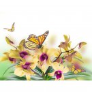 yellow orchids and butterflies Diamond Painting DIY kit Canvas Painting Wall Art Mosaic Painting