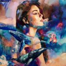 girl and whales Diamond Painting DIY kit Canvas Painting Wall Art Mosaic Painting
