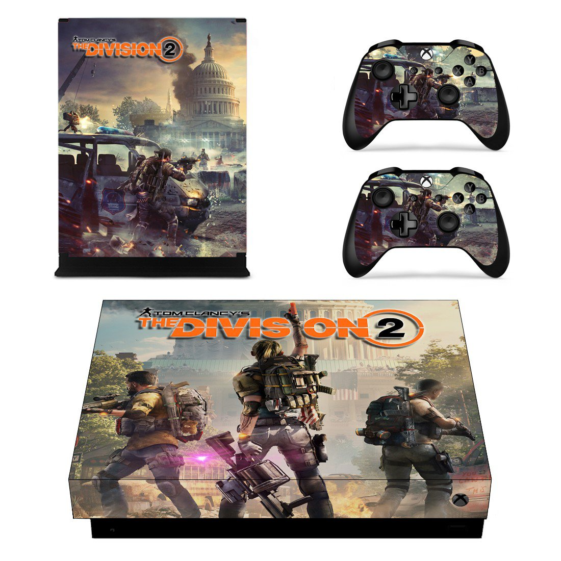 The Division 2 skin decal for Xbox one X console and controllers