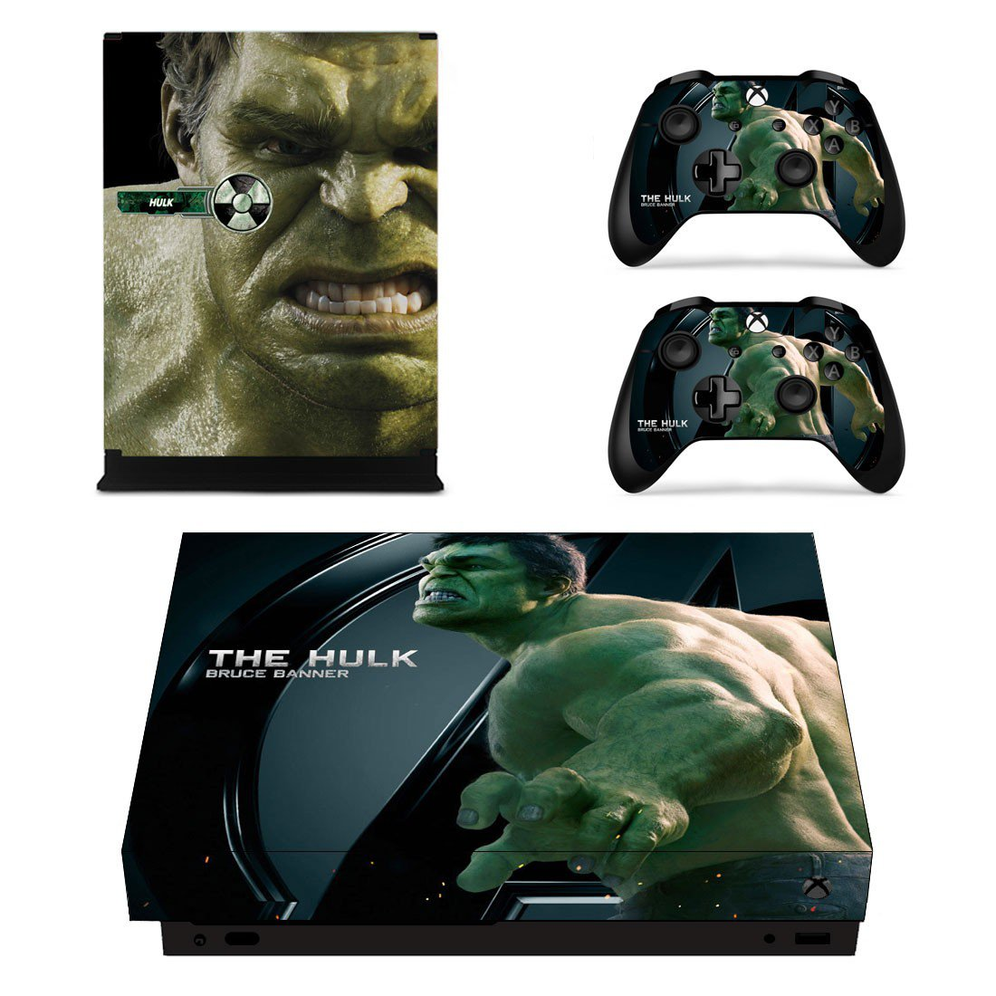 The Hulk skin decal for Xbox one S console and controllers