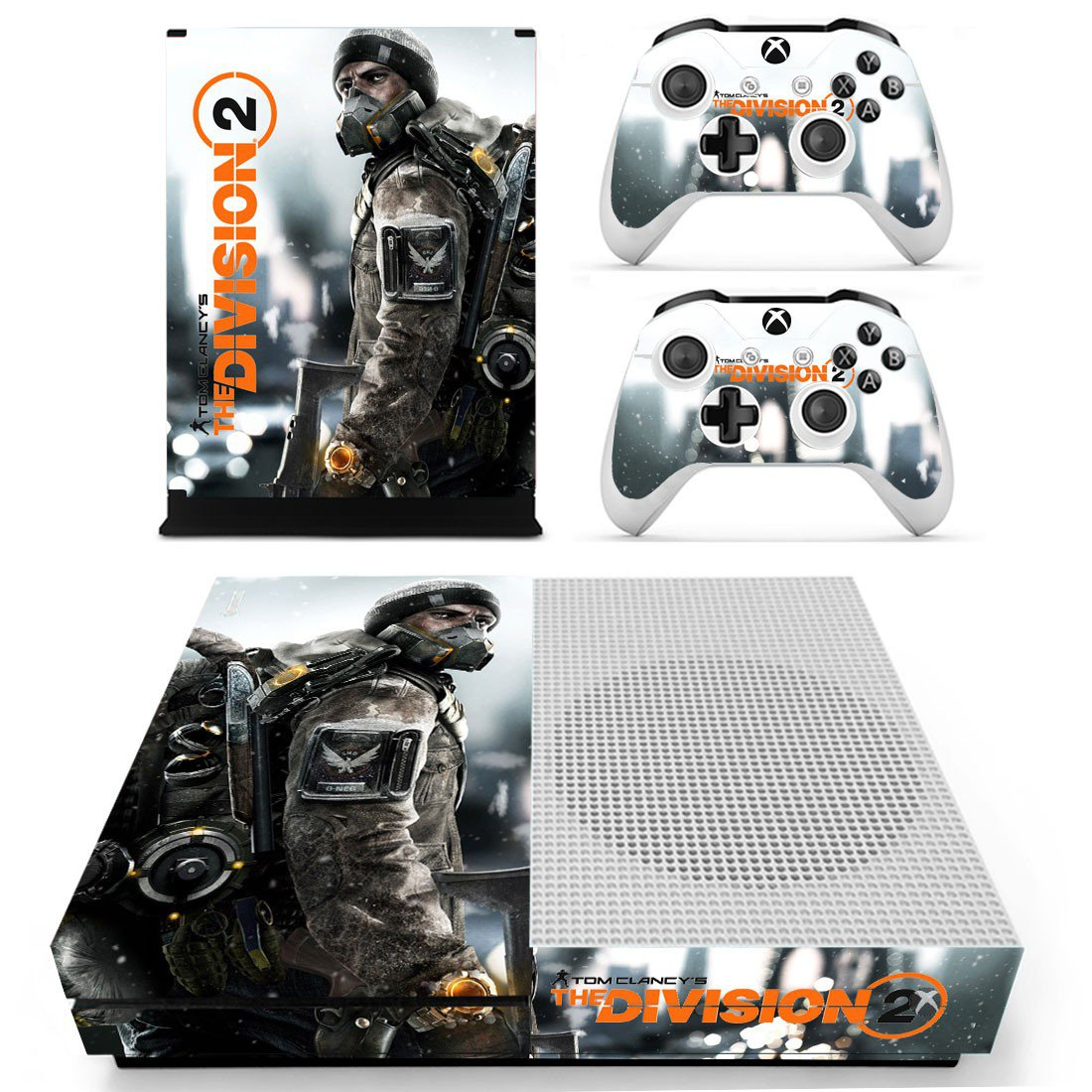 The Division 2 skin decal for Xbox one S console and controllers