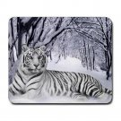 Siberian Tiger Relax Sitting on Snow Winter Mousepad Non Slip Neoprene