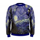 Size L - Starry Night Feat Police Box Tardis Men's Sweatshirt Autumn Winter Wear