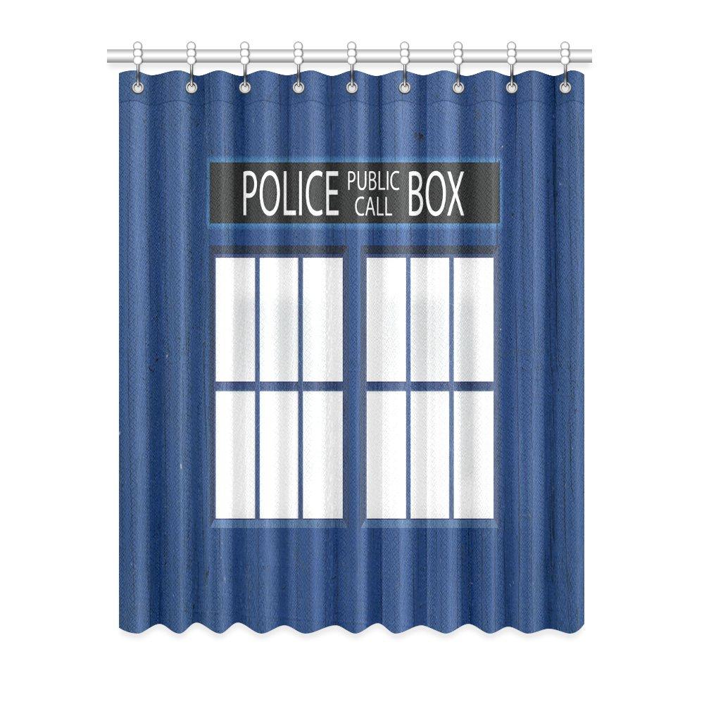 "1x Police Box Polyester Window Curtain 52"" x 63"" (132 cm x 160 cm)"