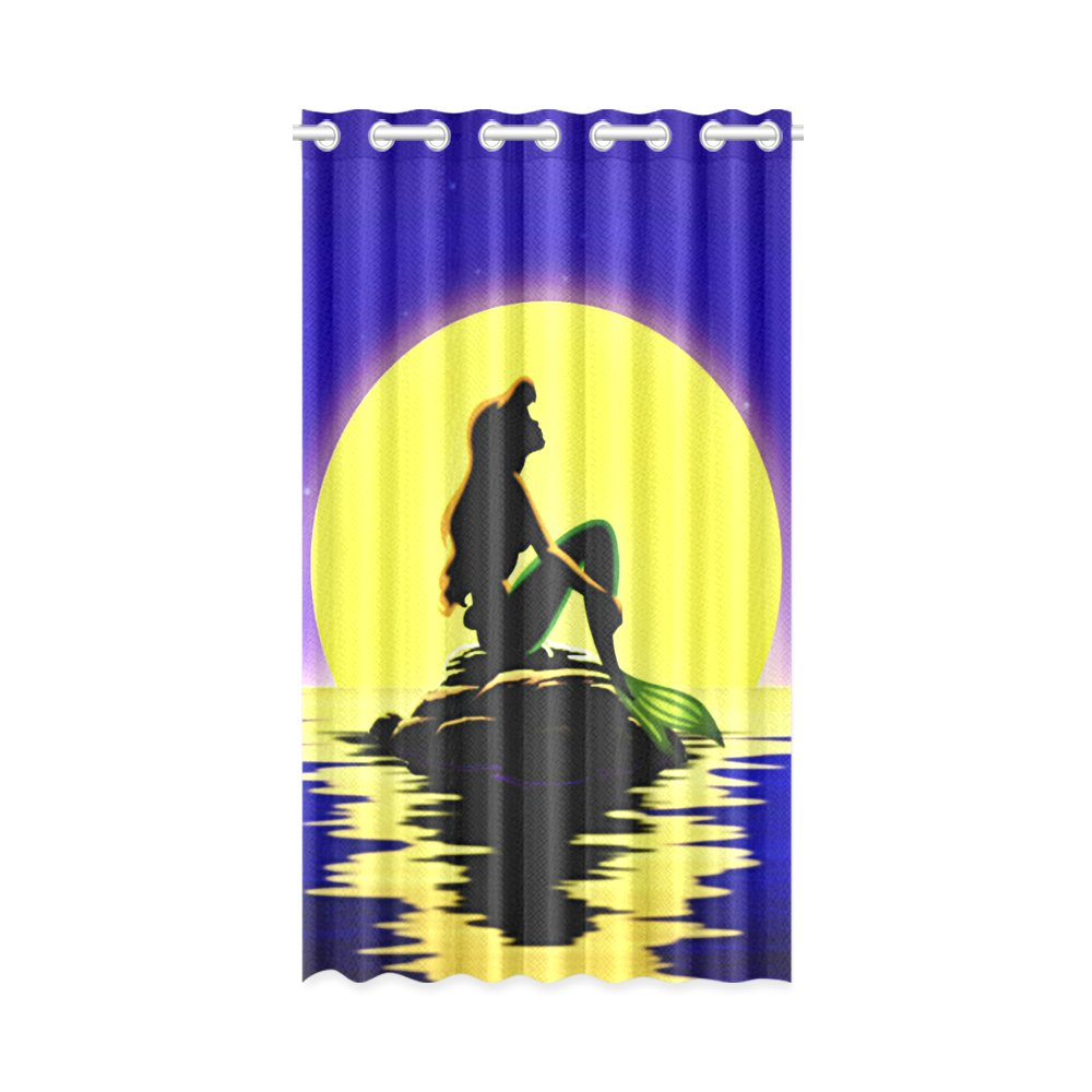 "1x Ariel Mermaid Sunset Silhouette Polyester Window Curtain 52"" x 84"" (132 cm x 213 cm)"