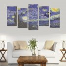 Starry Night feat Tardis Police Box Canvas Wall Art Prints (No Frame) 5-Pieces