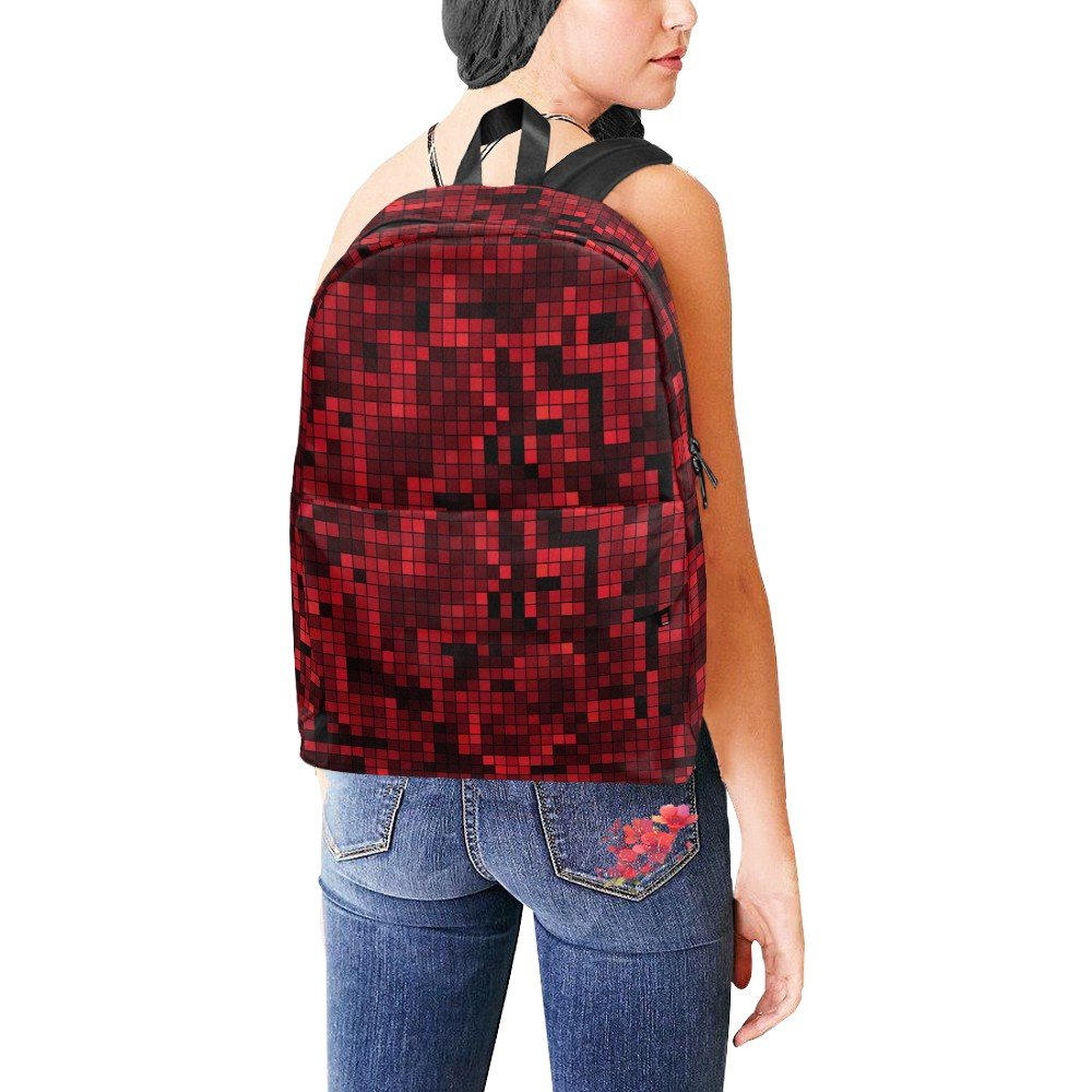 Pixelate Geometry Red Nylon Backpack Bag School Bag