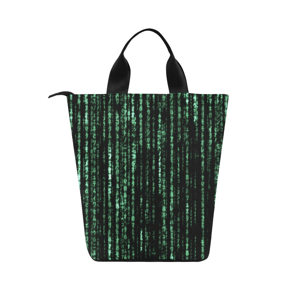 Matrix Computer Coding Nylon Cylinder Lunch Bag