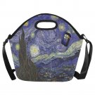 Starry Night Van Gogh feat Tardis Police Box Neoprene Lunch Bag (Large)