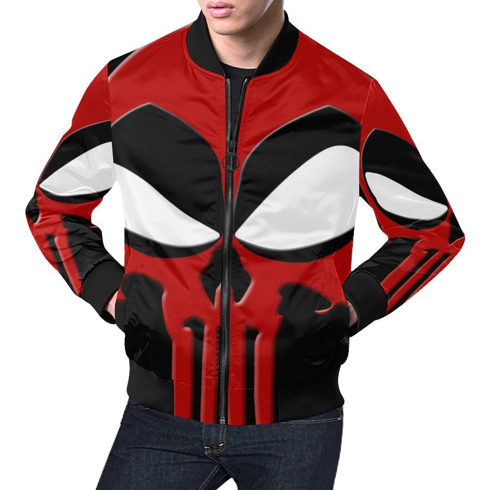 Size 4XL - Dead Pool Mix Punisher Men's All Over Print Casual Jacket