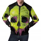Size 4XL - Green Skull Men's All Over Print Casual Jacket