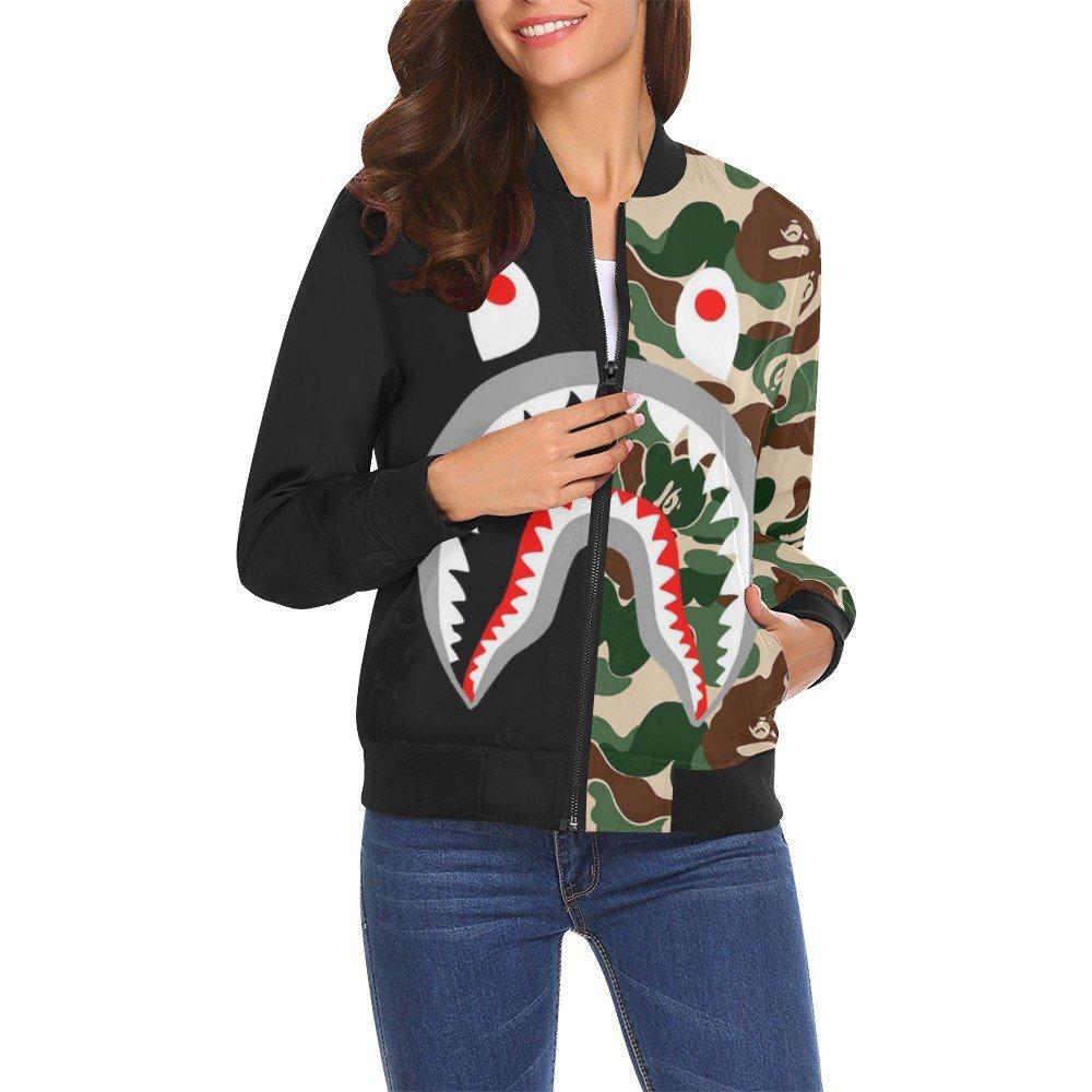 Size 2XL - Shark Camo Women's All Over Print Casual Jacket