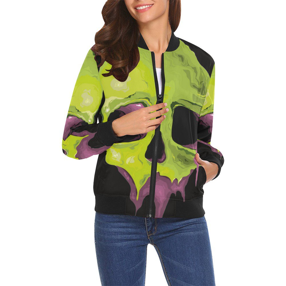 Size XL - Green Skull Women's All Over Print Casual Jacket