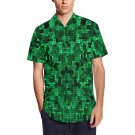 SIZE L - Green Pixelate Geometry Men's Short Sleeve Shirt With Lapel Collar