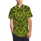 SIZE L - Yellow Pixelate Geometry Men's Short Sleeve Shirt With Lapel Collar