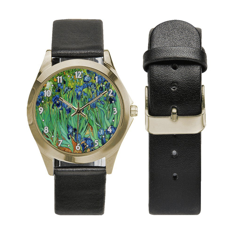 Irises Van Gogh Unisex Round Metal Watch