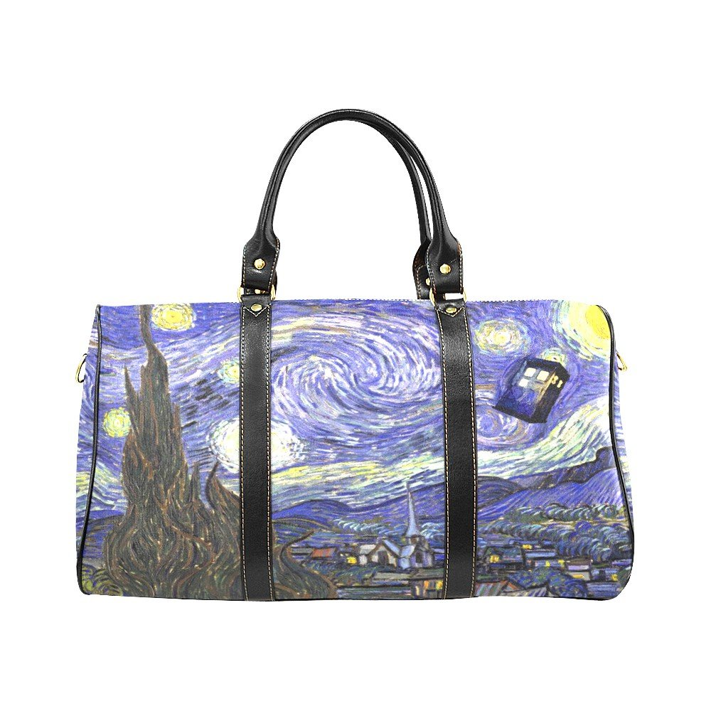 Starry Night Tardis Police Box Travel Bag (Small)