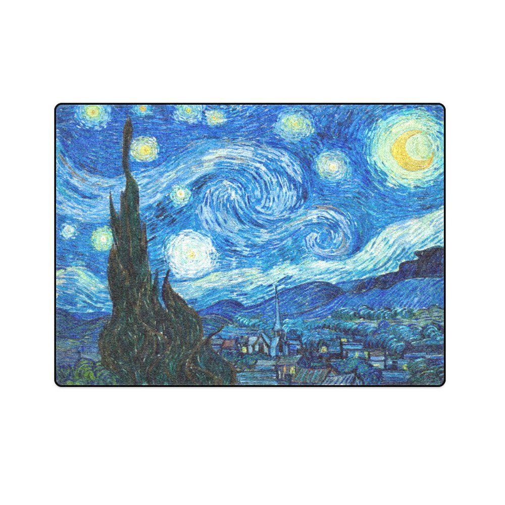 "Starry Night Vincent Van Gogh Painting Style 'One Layer' Fleece Blanket (Large) 58""x80"""