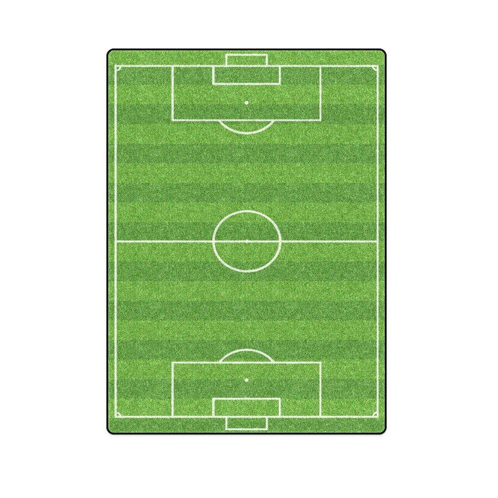"Football Soccer Green Field Sport 'One Layer' Fleece Blanket (Large) 58""x80"""