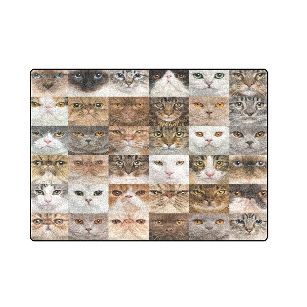 "Collection of Cats 'One Layer' Fleece Blanket (Large) 58""x80"""