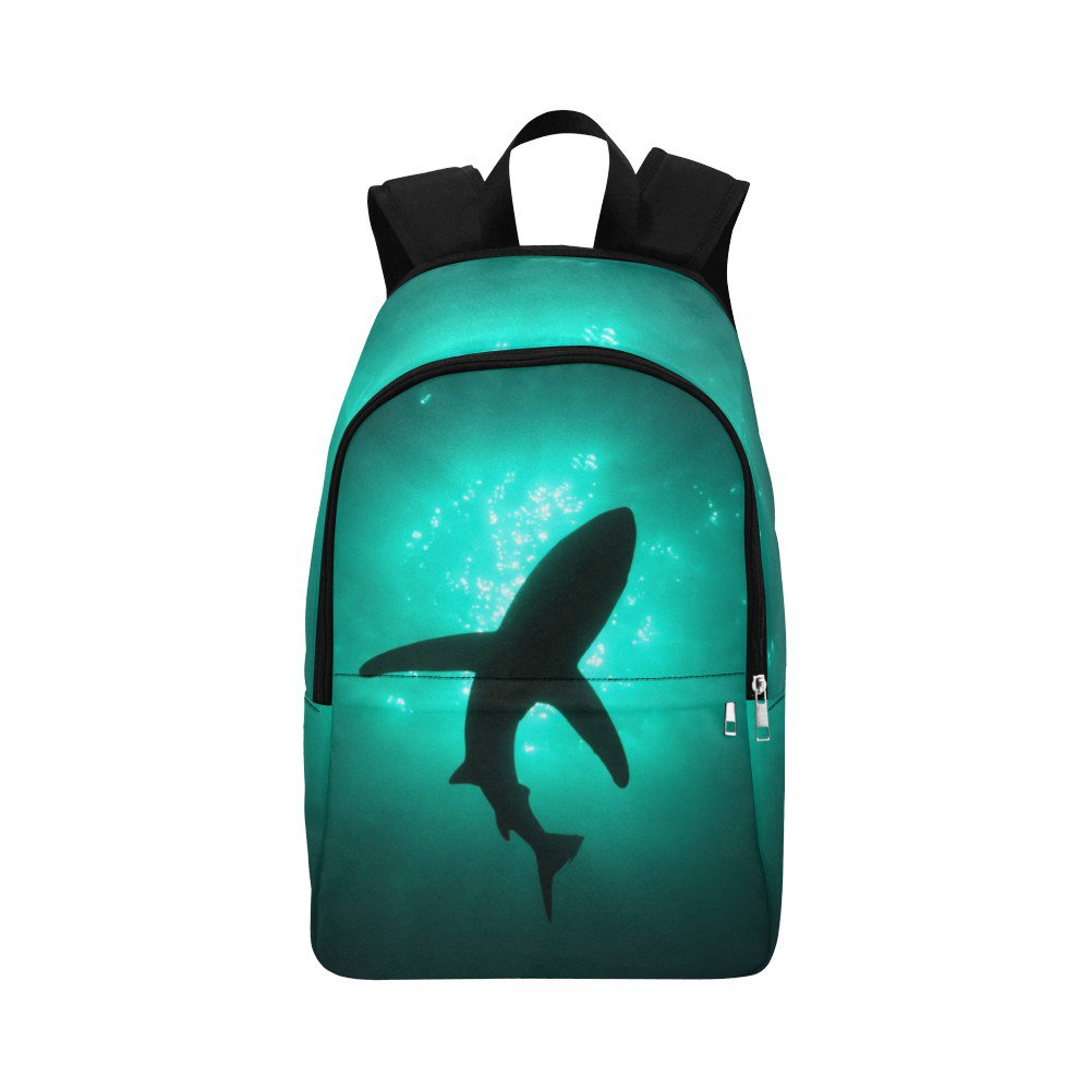 Shark Silhouette in Deep Sea Jedi All-Over Print Adult Casual Waterproof Nylon Backpack Bag