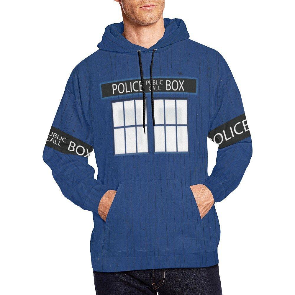 Size 3XL - Police Box Tardis Doctor Who Men's Full Print Hoodie (USA Size)