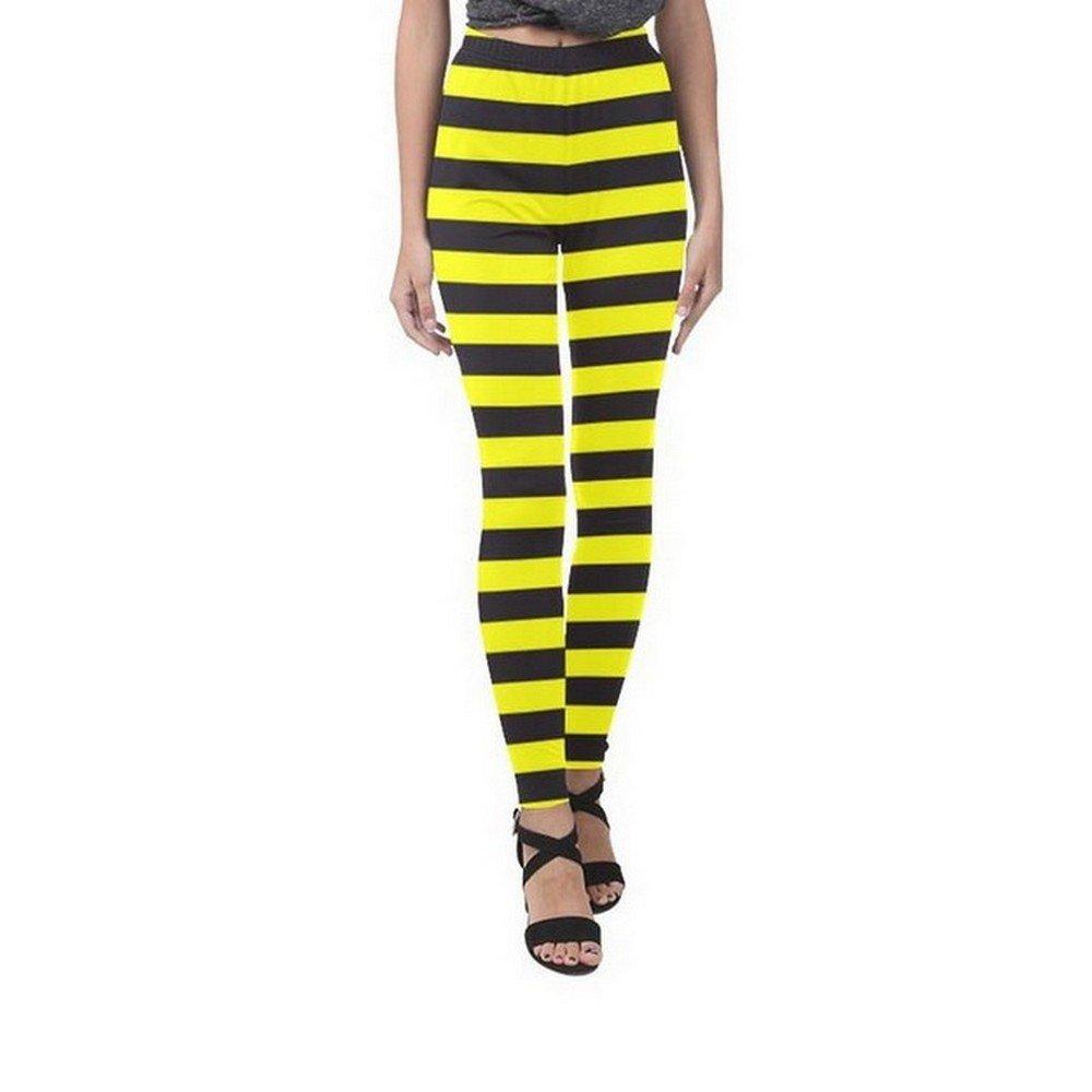 Size L - Bumble Bee Stripes Yellow Black Full Print Leggings