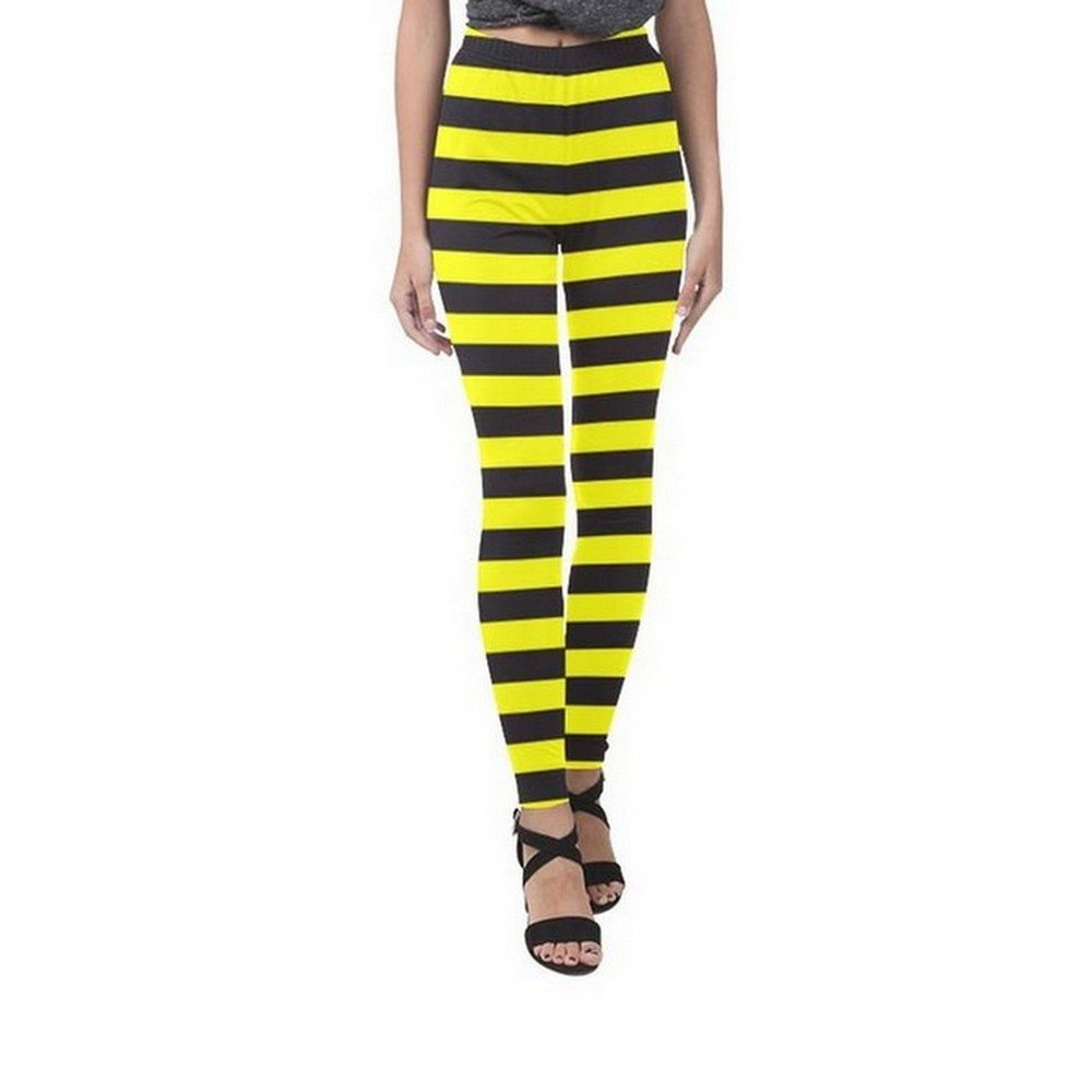 Size XL - Bumble Bee Stripes Yellow Black Full Print Leggings