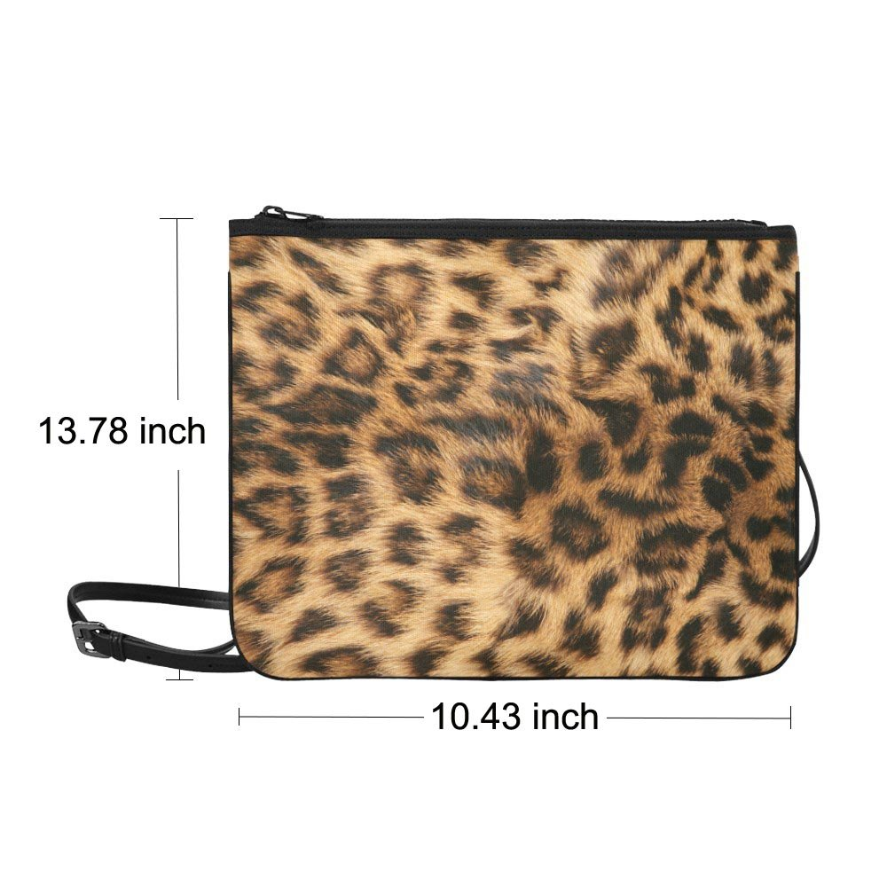 "Leopard Fur Printing Nylon Slim Clutch Bag 10.43""(L) x 13.78"" (H)"