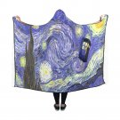 "Starry Night Van Gogh Tardis Police Box Hooded Blanket 60"" x 50"""