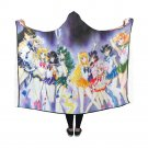 """Sailor Moon All Complete Scouts Anime Manga Hooded Blanket 60"""" x 50"""""""