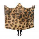 "Leopard Fur Alike Printing Hooded Blanket 60"" x 50"""