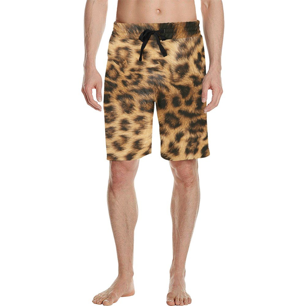 Size 2XL - Men's Leopard Brown All Over Print Casual Shorts