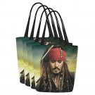Set of FOUR Pirate Jack Sparrow Canvas Tote Bag Two Sides Printing
