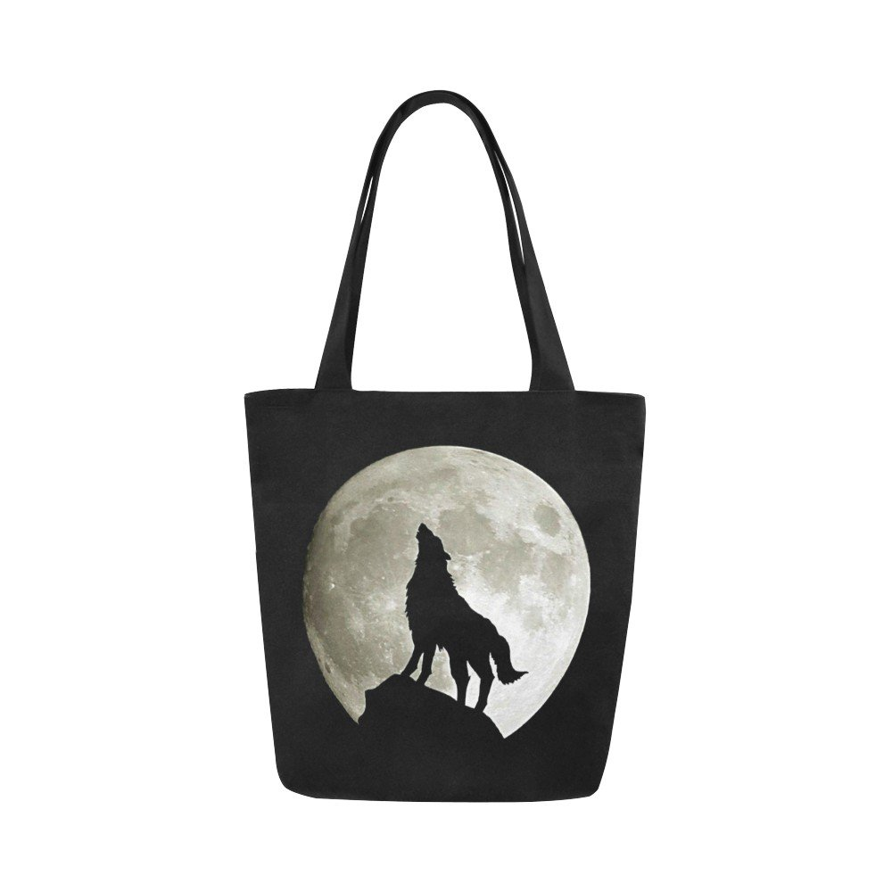 Wolf Silhouette and the Moon Canvas Tote Bag Two Sides Printing