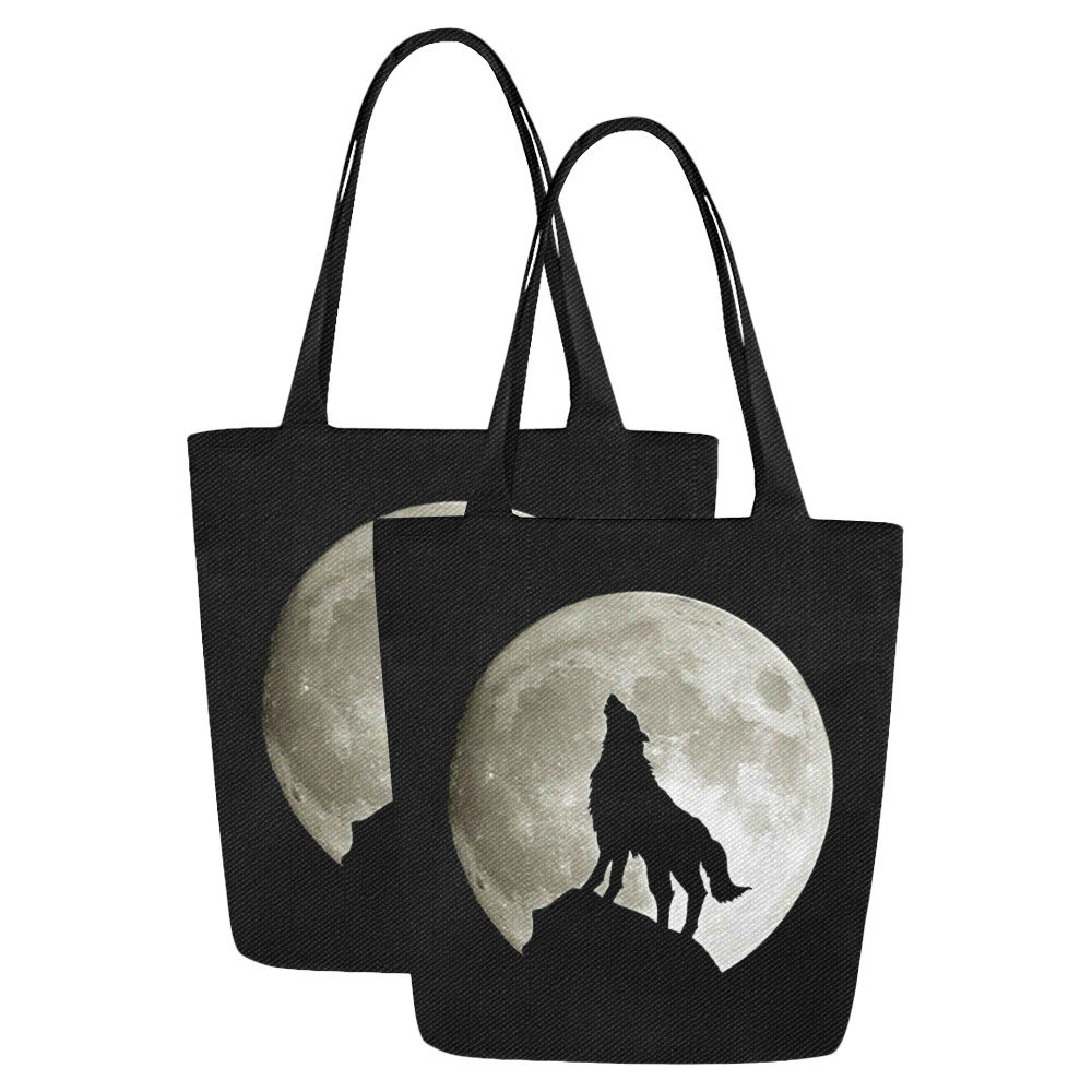 Set of TWO Wolf Silhouette and the Moon Canvas Tote Bag Two Sides Printing