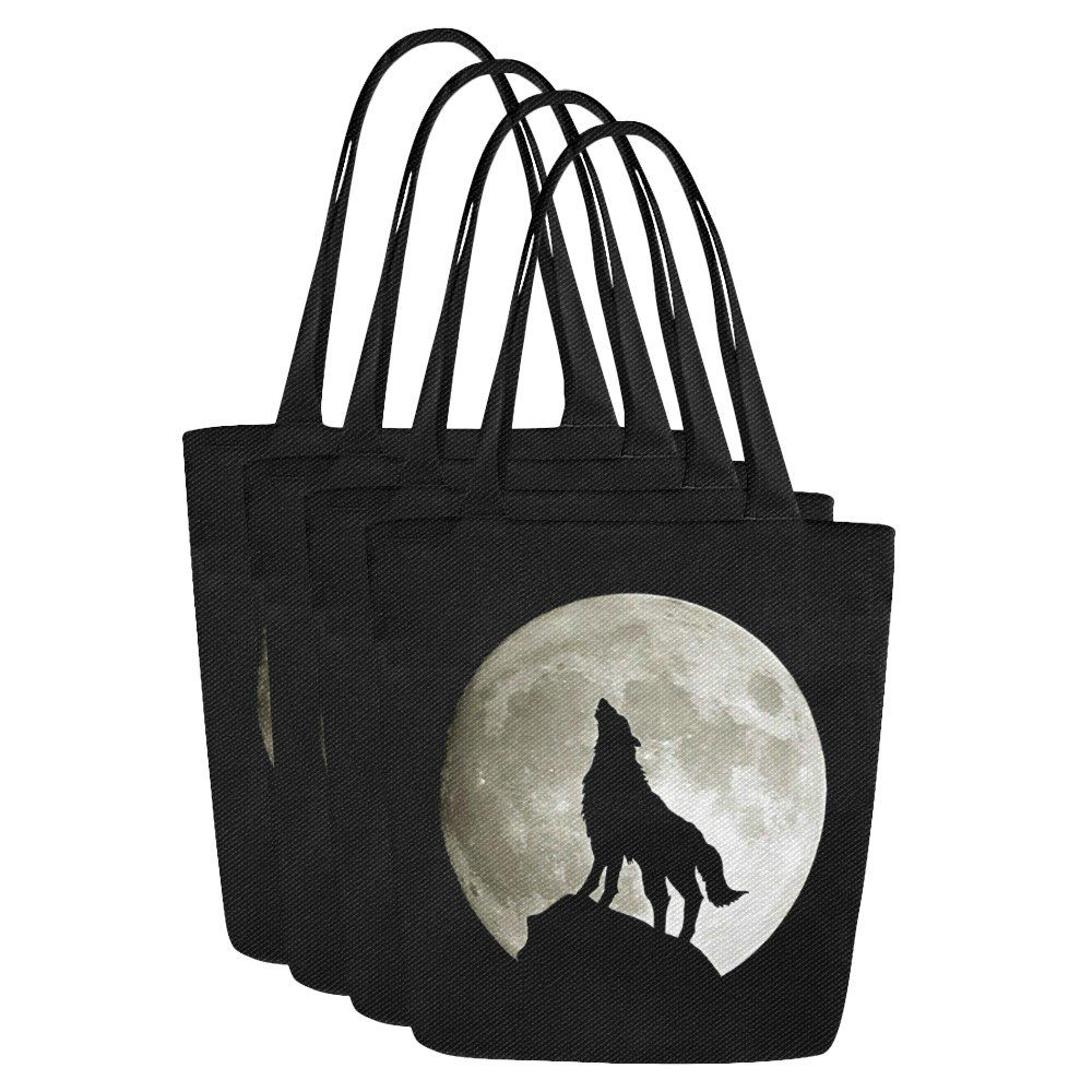 Set of FOUR Wolf Silhouette and the Moon Canvas Tote Bag Two Sides Printing