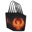 Set of FOUR Phoenix Bird Magical Creature Canvas Tote Bag Two Sides Printing