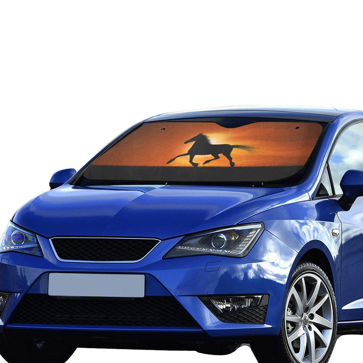 "Horse Silhouette Car Auto Sun Shade Windshield 55"" x 29.53"""